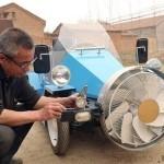 Изобретательный фермер из Китая сделал автомобиль, работающий от ветра и солнца (фото, видео)